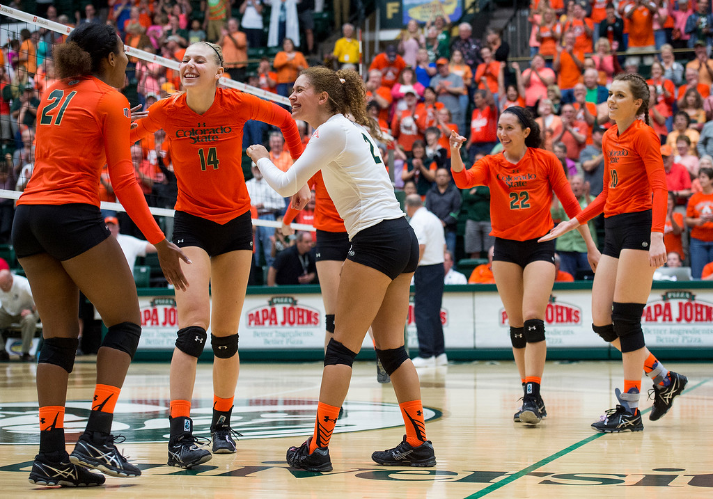 . Colorado State celebrates a straight set 3-0 victory over Utah State Saturday afternoon Oct., 29, 2016 at Moby Arena in Fort Collins. (Photo by Michael Brian/Loveland Reporter-Herald)
