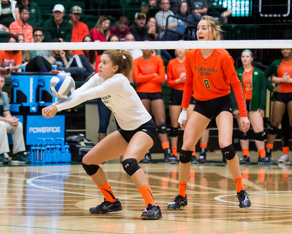 . Colorado State\'s Cassidy Denny (2) gets a dig against Utah State Saturday afternoon Oct., 29, 2016 at Moby Arena in Fort Collins. The Rams beat the Aggies, 3-0. (Photo by Michael Brian/Loveland Reporter-Herald)