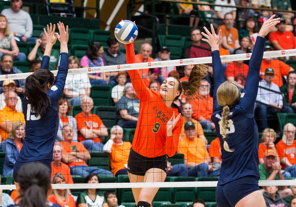 . Colorado State\'s Paulina Hougaard-Jensen (9) drives a shot into the Utah State defense Saturday afternoon Oct., 29, 2016 at Moby Arena in Fort Collins. The Rams won, 3-0. (Photo by Michael Brian/Loveland Reporter-Herald)