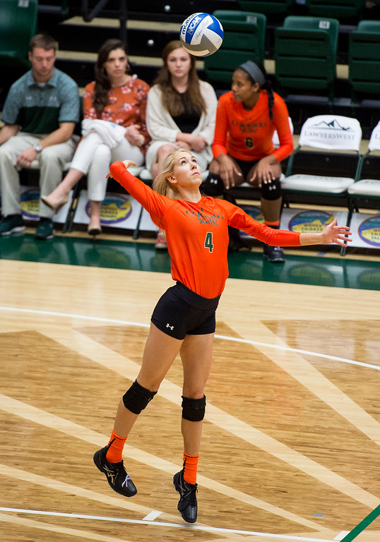 . Colorado State\'s McKenna Thornlow (4) serves against Utah State Saturday afternoon Oct., 29, 2016 at Moby Arena in Fort Collins. The Rams beat the Aggies in straight sets, 3-0. (Photo by Michael Brian/Loveland Reporter-Herald)