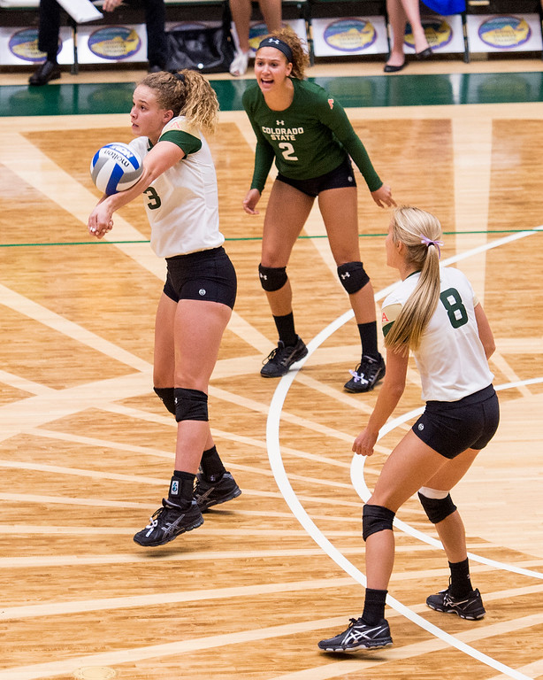 . Colorado State freshman Olivia Nicholson (3) handles a serve from Wichita State Thursday evening Sept. 8, 2016 at Moby Arena in Fort Collins. (Photo by Michael Brian/Loveland Reporter-Herald)