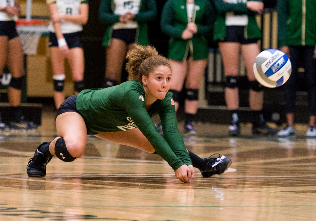 . Colorado State libero Cassidy Denny (2) reaches for a dig on a Wichita State shot Thursday evening Sept. 8, 2016 as the two teams faced off at Moby Arena in Fort Collins. (Photo by Michael Brian/Loveland Reporter-Herald)