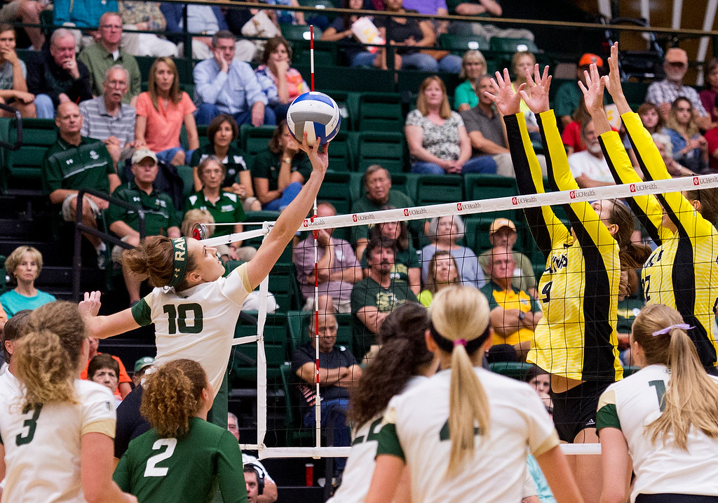 . Colorado State outside hitter Sanja Cizmic (10) reaches for a finesse shot against Wichita State Thursday evening Sept. 8, 2016 at Moby Arena in Fort Collins. (Photo by Michael Brian/Loveland Reporter-Herald)