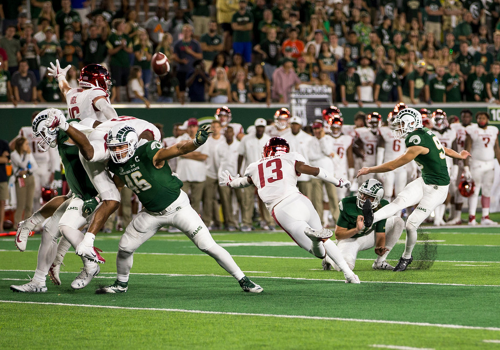 . Colorado State kicker Wyatt Bryan (96) drills an extra point Saturday evening Sept., 8, 2018 at Canvas Stadium in Fort Collins. Bryan kicked four field goals in the victory over Arkansas and became the Ram\'s career scoring leader with 300 points. (Michael Brian/For the Reporter-Herald)