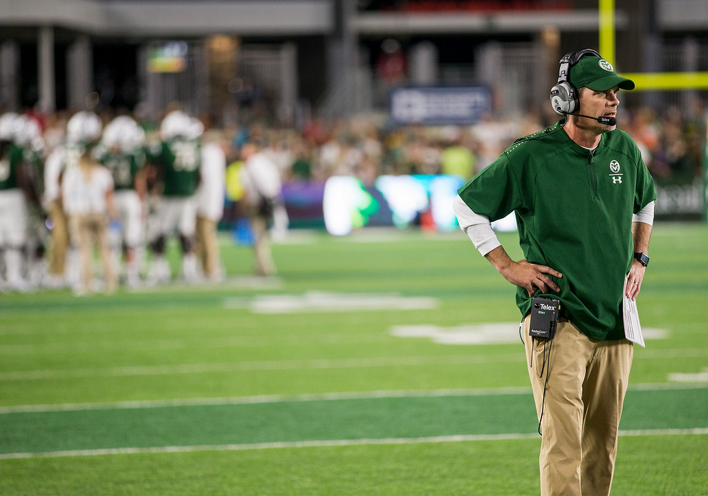 . Colorado State head coach Mike Bobo waits for the outcome of an instant replay review Saturday evening Sept., 8, 2018 at Canvas Stadium in Fort Collins. The Rams beat the visiting Arkansas Razorbacks 34-27. (Michael Brian/For the Reporter-Herald)
