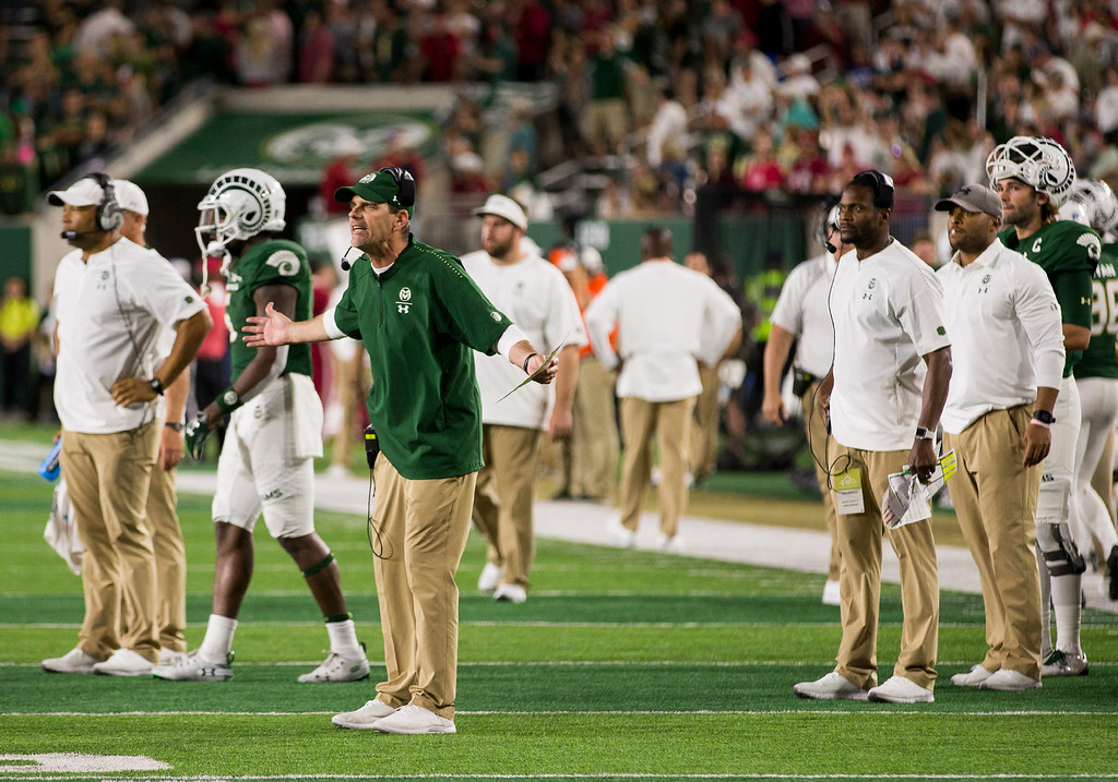 . Colorado State head coach Mike Bobo lights into the officiating crew Saturday evening Sept., 8, 2018 as his Ram\'s face Arkansas at Canvas Stadium in Fort Collins. Colorado State prevailed, 34-27. (Michael Brian/For the Reporter-Herald)