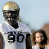 """University of Colorado's Stephane Nembot, on Friday, Aug. 5, during the Buff's second football practice on the University of Colorado practice field in Boulder. For more photos and interviews from the practice go to  <a href=""""http://www.dailycamera.com"""">http://www.dailycamera.com</a><br /> Jeremy Papasso/ Camera"""