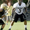 """University of Colorado inside linebacker Douglas Rippy watches the play carefully on Friday, Aug. 5, during the Buff's second football practice on the University of Colorado practice field in Boulder. For more photos and interviews from the practice go to  <a href=""""http://www.dailycamera.com"""">http://www.dailycamera.com</a><br /> Jeremy Papasso/ Camera"""