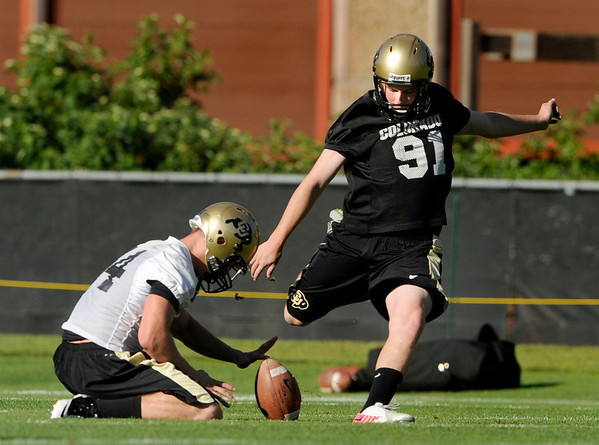 "University of Colorado  on Friday, Aug. 5, during the Buff's second football practice on the University of Colorado practice field in Boulder. For more photos and interviews from the practice go to  <a href=""http://www.dailycamera.com"">http://www.dailycamera.com</a><br /> Jeremy Papasso/ Camera"