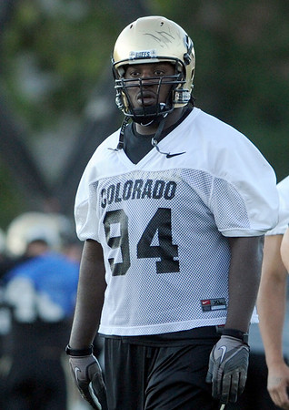 "University of Colorado's Nate Bonsu on Friday, Aug. 5, during the Buff's second football practice on the University of Colorado practice field in Boulder. For more photos and interviews from the practice go to  <a href=""http://www.dailycamera.com"">http://www.dailycamera.com</a><br /> Jeremy Papasso/ Camera"