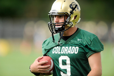University of Colorado quarterback Tyler Hansen on Thursday, Aug. 4, during the Buff's first football practice on the University of Colorado practice field in Boulder. For more photos and interviews from the practice go to www.dailycamera.com Jeremy Papasso/ Camera