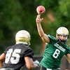 "University of Colorado quarterback Nick Hirschman throws a pass to tight end DaVaughn Thornton on Thursday, Aug. 4, during the Buff's first football practice on the University of Colorado practice field in Boulder. For more photos and interviews from the practice go to  <a href=""http://www.dailycamera.com"">http://www.dailycamera.com</a><br /> Jeremy Papasso/ Camera"