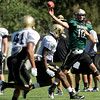 University of Colorado quarterback Brent Burnette throws a pass on Saturday, Aug. 6, at the CU Buff's third practice of the season.<br /> Jeremy Papasso/ Camera