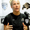 University of Colorado soccer player Amy Barczuk speaks during a press conference on Saturday, Aug. 6, at CU's Media Day at the Dal Ward Athletic Center on the CU Boulder campus in Boulder.<br /> Jeremy Papasso/ Camera