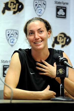 University of Colorado soccer player Kate Russell speaks during a press conference on Saturday, Aug. 6, at CU's Media Day at the Dal Ward Athletic Center on the CU Boulder campus in Boulder.<br /> Jeremy Papasso/ Camera