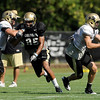 University of Colorado's DaVaughn Thornton, No. 85, works his way up the field on Saturday, Aug. 6, at the CU Buff's third practice of the season.<br /> Jeremy Papasso/ Camera