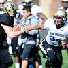 Cordary Allen (34) pursues a runner during the University of Colorado football team practice on Tuesday March 20, 2012.<br /> For more photos of the game go to www.buffzone. com<br /> Photo by Paul Aiken / The Camera