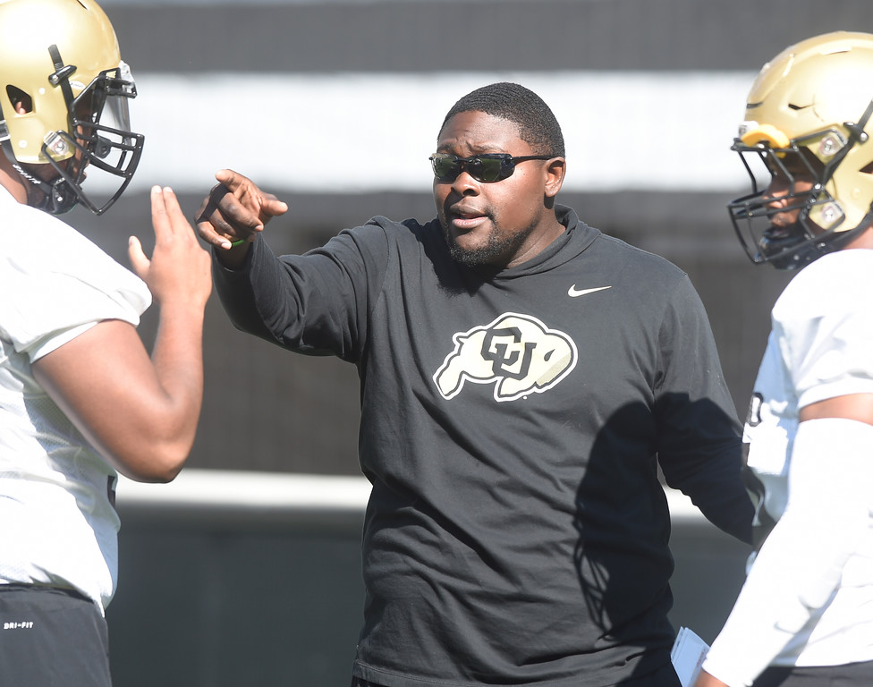 . Boulder, CO - AUGUST 11: CU assistant coach, Kwahn Drake, during the University of Colorado football scrimmage on August 11, 2018.(Photo by Cliff Grassmick/Staff Photographer)