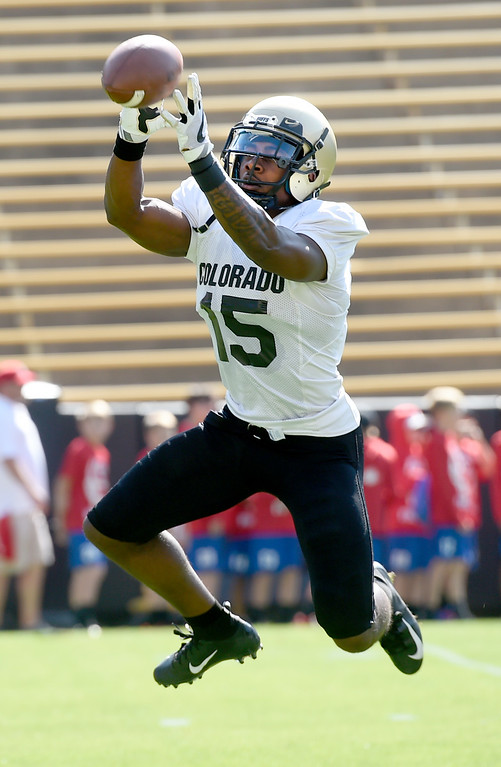 . Boulder, CO - AUGUST 11: Darrell Hubbard during the University of Colorado football scrimmage on August 11, 2018.(Photo by Cliff Grassmick/Staff Photographer)