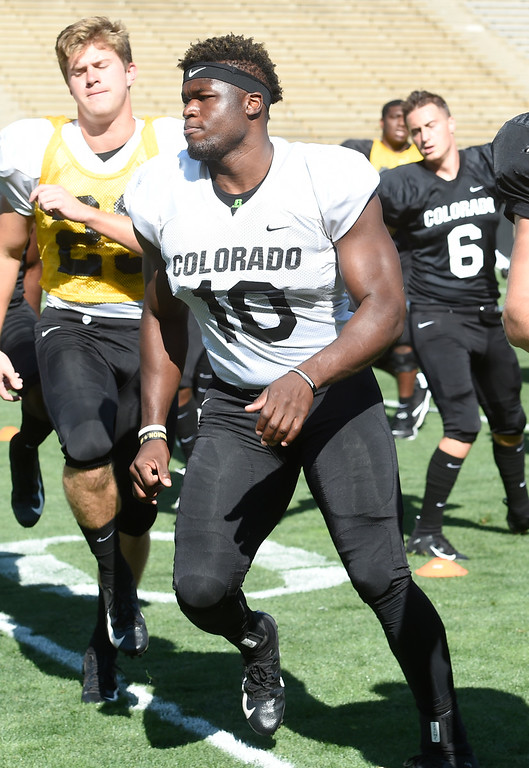 . Boulder, CO - AUGUST 11:  Alex Tchangam during the University of Colorado football scrimmage on August 11, 2018.(Photo by Cliff Grassmick/Staff Photographer)