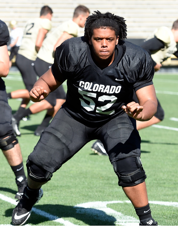 . Boulder, CO - AUGUST 11: Joshua Jynes during the University of Colorado football scrimmage on August 11, 2018.(Photo by Cliff Grassmick/Staff Photographer)
