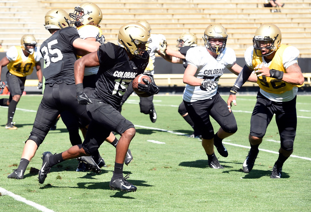 . Boulder, CO - AUGUST 11: Dimitri Stanley on a kick return during the University of Colorado football scrimmage on August 11, 2018.(Photo by Cliff Grassmick/Staff Photographer)