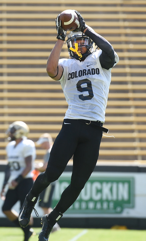 . Boulder, CO - AUGUST 11: Aaron Maddox during the University of Colorado football scrimmage on August 11, 2018.(Photo by Cliff Grassmick/Staff Photographer)