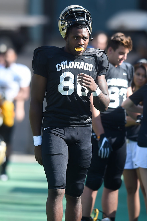 . Boulder, CO - AUGUST 11: Darrion Jones during the University of Colorado football scrimmage on August 11, 2018.(Photo by Cliff Grassmick/Staff Photographer)