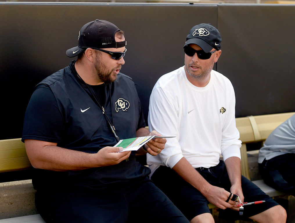 . Boulder, CO - AUGUST 11: Klayton Adams, left, and Kurt Roper, during the University of Colorado football scrimmage on August 11, 2018.(Photo by Cliff Grassmick/Staff Photographer)
