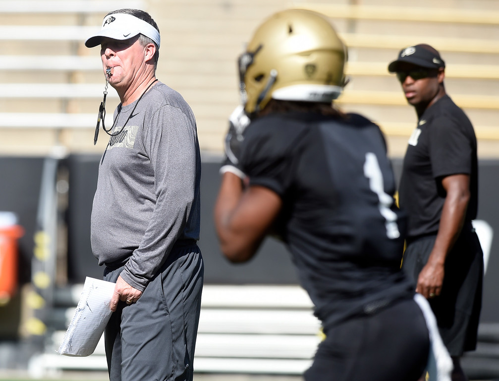 . Boulder, CO - AUGUST 11:  Head coach, Mike MacIntyre, during the University of Colorado football scrimmage on August 11, 2018.(Photo by Cliff Grassmick/Staff Photographer)