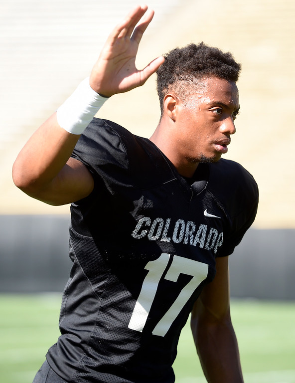 . Boulder, CO - AUGUST 11: Kabion Ento during the University of Colorado football scrimmage on August 11, 2018.(Photo by Cliff Grassmick/Staff Photographer)