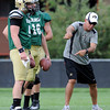 "University of Colorado Assistant Head Coach and quarterback coach Rip Scherer talks to the quarterbacks on Friday, Aug. 10, during the CU Football Fall Camp at the practice fields in Boulder. For more photos of the practice go to  <a href=""http://www.dailycamera.com"">http://www.dailycamera.com</a><br /> Jeremy Papasso/ Camera"