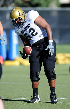 CUFOOT<br /> Offensive lineman Daniel Munyer at CU practice on Tuesday.<br /> Photo by Marty Caivano/Camera/Aug. 10, 2010
