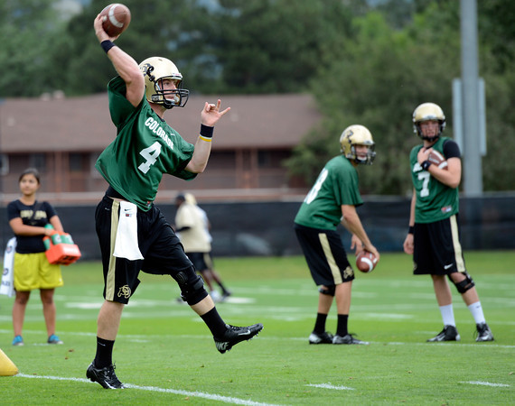 "University of Colorado's during football practice on Monday, Aug. 6, at the CU practice field in Boulder. For more photos of the practice go to  <a href=""http://www.dailycamera.com"">http://www.dailycamera.com</a><br /> Jeremy Papasso/ Camera"