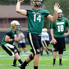 "University of Colorado quarterback John Schrock passes the ball during football practice on Monday, Aug. 6, at the CU practice field in Boulder. For more photos of the practice go to  <a href=""http://www.dailycamera.com"">http://www.dailycamera.com</a><br /> Jeremy Papasso/ Camera"