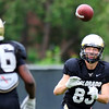 CU wide receiver Dustin Ebner catches a pass during practice at the University of Colorado in Boulder, Colorado August 9, 2012.  DAILY CAMERA MARK LEFFINGWELL