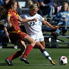 Colorado's Anne Stuller (right) tries to get a shot on goal around USC's  Kristina Noriega (left) during their soccer game at Prentup Field in Boulder, Colorado October 30, 2011.  CAMERA/Mark Leffingwell