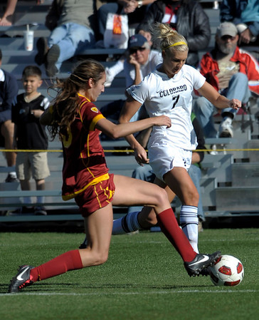 Colorado's Shaye Marshall (right) gets the ball past USC's Kristina Noriega (left) during their soccer game at Prentup Field in Boulder, Colorado October 30, 2011.  CAMERA/Mark Leffingwell