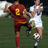 Colorado's Maggie Steury (right) nearly collides with USC's Claire Schloemer (left) going for the ball during their soccer game at Prentup Field in Boulder, Colorado October 30, 2011.  CAMERA/Mark Leffingwell