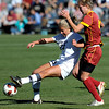 Colorado's Anne Stuller (left) passes the ball away from USC's Ashley Fuller (right) during their soccer game at Prentup Field in Boulder, Colorado October 30, 2011.  CAMERA/Mark Leffingwell