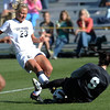 Colorado's Annie Stuller (left) gets blocked by USC's Carley Pennington (right) during their soccer game at Prentup Field in Boulder, Colorado October 30, 2011.  CAMERA/Mark Leffingwell