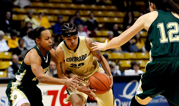 Colorado's Chucky Jeffery (center) threads her way though Colorado State's Chantel Kennedy (left) and Sam Martin (right) during their game at the University of Colorado in Boulder, Colorado December 8, 2010.  CAMERA/Mark Leffingwell