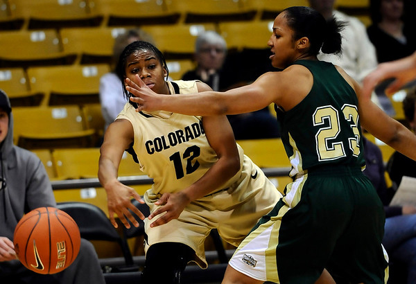 Colorado's Ashley Wilson (left) passes the ball around Colorado State's Zoi Simmons (right) during their game at the University of Colorado in Boulder, Colorado December 8, 2010.  CAMERA/Mark Leffingwell