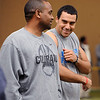 "CU football coach, Jon Embree, jokes with his son, Taylor, during timing day in Boulder.<br /> University of Colorado football players showed their skills to NFL scouts on Thursday during CU pro timing day.<br /> For a video and more photos of timing day, go to  <a href=""http://www.dailycamera.com"">http://www.dailycamera.com</a>.<br /> Cliff Grassmick / March 8, 2012"