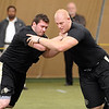 "Ethan Adkins, left, and Ryan Miller, workout for the pro scouts.<br /> University of Colorado football players showed their skills to NFL scouts on Thursday during CU pro timing day.<br /> For a video and more photos of timing day, go to  <a href=""http://www.dailycamera.com"">http://www.dailycamera.com</a>.<br /> Cliff Grassmick / March 8, 2012"