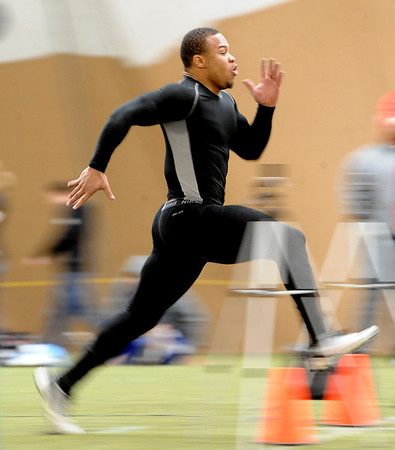 "Rodney Stewart runs a 40-yard dash for the pro scouts.<br /> University of Colorado football players showed their skills to NFL scouts on Thursday during CU pro timing day.<br /> For a video and more photos of timing day, go to  <a href=""http://www.dailycamera.com"">http://www.dailycamera.com</a>.<br /> Cliff Grassmick / March 8, 2012"