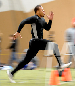 Rodney Stewart runs a 40-yard dash for the pro scouts. University of Colorado football players showed their skills to NFL scouts on Thursday during CU pro timing day. For a video and more photos of timing day, go to www.dailycamera.com. Cliff Grassmick / March 8, 2012