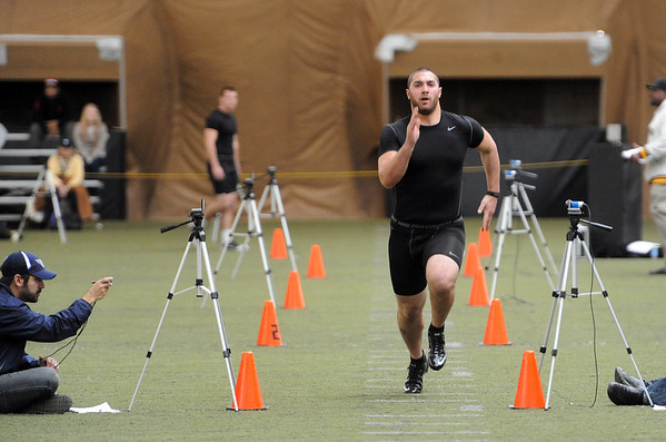 "David Goldberg  runs a 40-yard dash for the pro scouts.<br /> University of Colorado football players showed their skills to NFL scouts on Thursday during CU pro timing day.<br /> For a video and more photos of timing day, go to  <a href=""http://www.dailycamera.com"">http://www.dailycamera.com</a>.<br /> Cliff Grassmick / March 8, 2012"