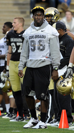 """Chidera Uzo-Diribe during the Spring game.<br /> For more photos of the game, go to  <a href=""""http://www.dailycamera.com"""">http://www.dailycamera.com</a><br /> Cliff Grassmick / April 14, 2012"""