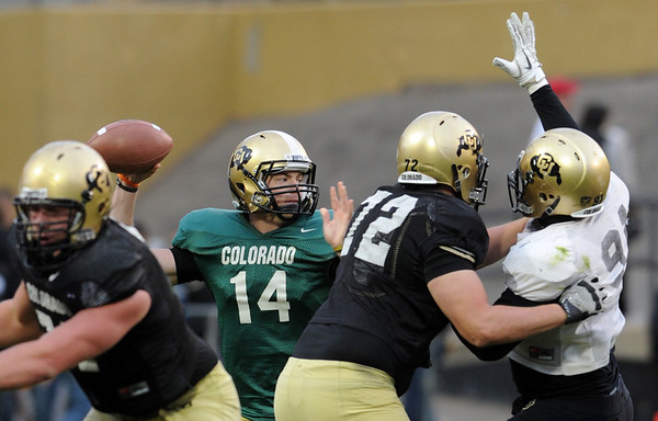 "John Schrock gets a pass away during the Spring game on Saturday.<br /> For more photos of the game, go to  <a href=""http://www.dailycamera.com"">http://www.dailycamera.com</a><br /> Cliff Grassmick / April 14, 2012"